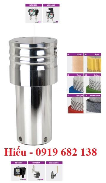 Bộ lọc khí nén bằng thép cacbon cho đường ống áp suất cao CHP Omega Air