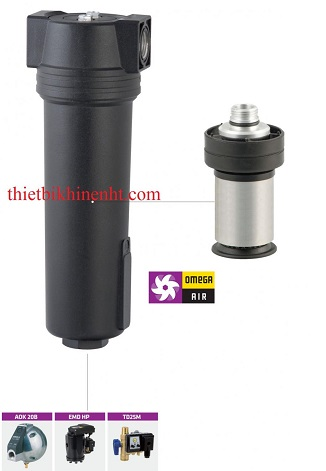 Bộ tách nước CKL C Omega Air, vật liệu hợp kim nhôm, kết nối Ren