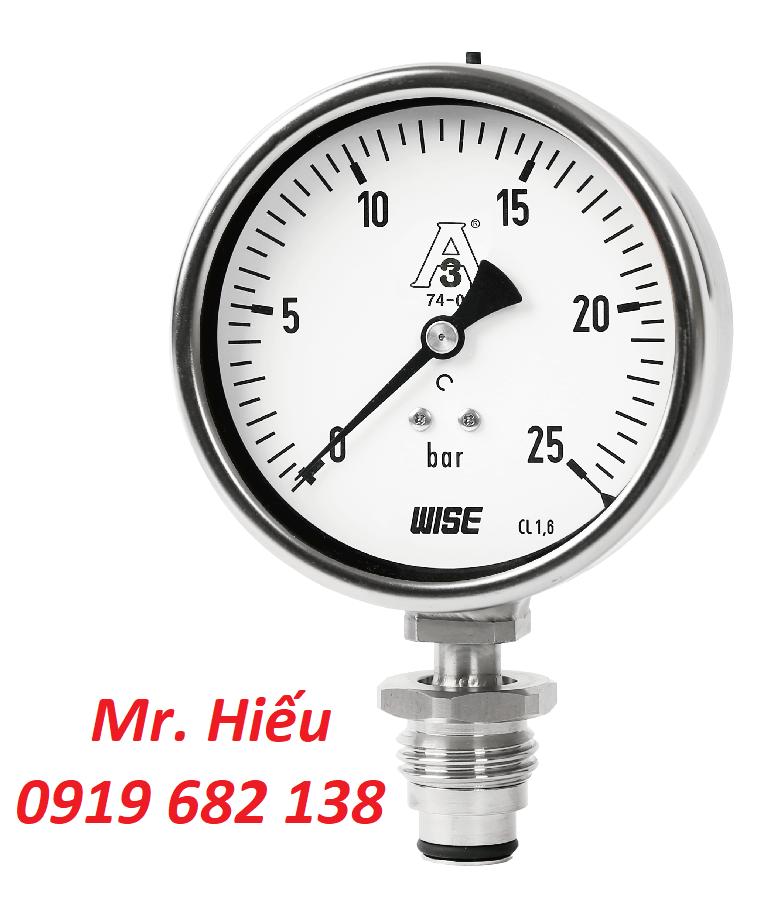 Đồng hồ áp suất màng 3-A Marking WISE P753S