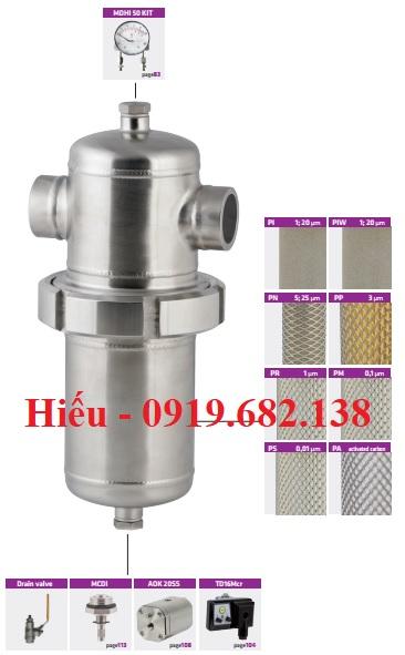 Bộ lọc khí vi sinh inox WFIW Omega Air kết nối mối hàn